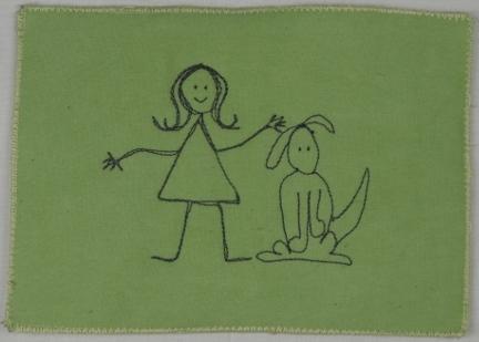 Happy Girl and Dog